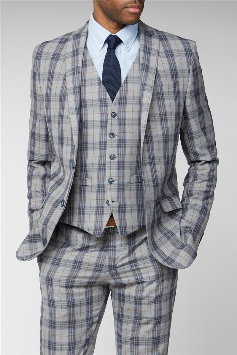Grey Blue Check Slim Fit Suit