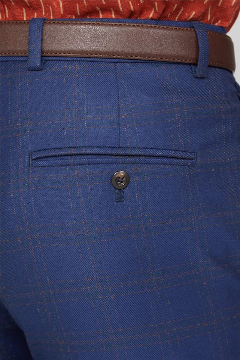 Blue Orange Check Slim Suit