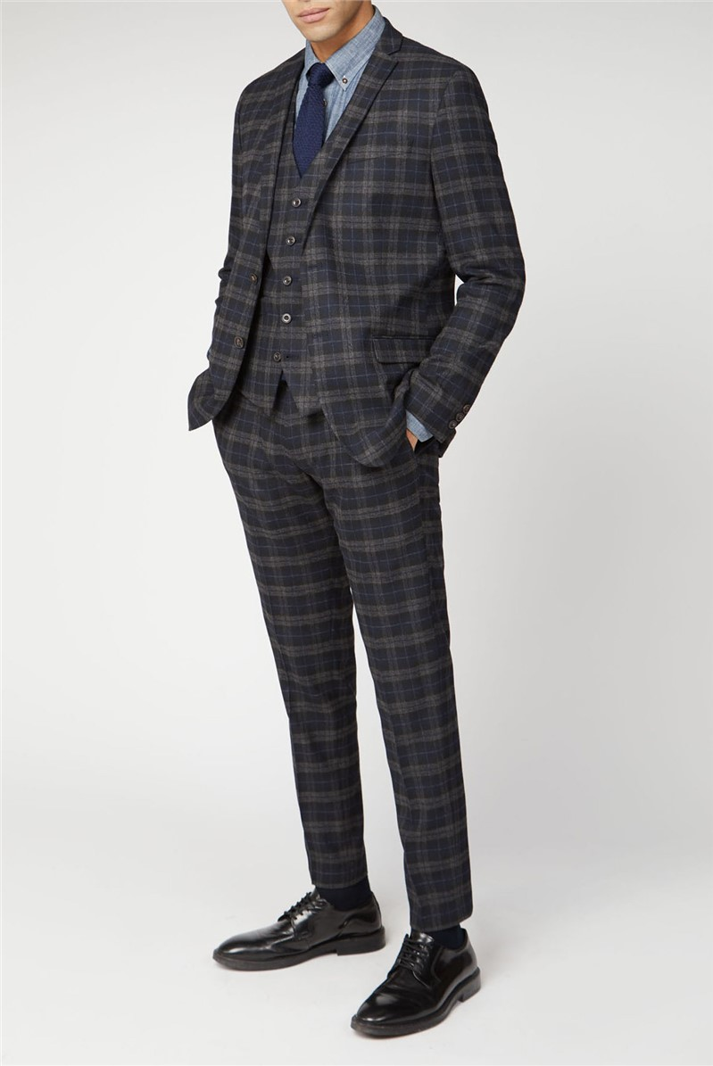 Blue Black Brushed Check Slim Fit Suit