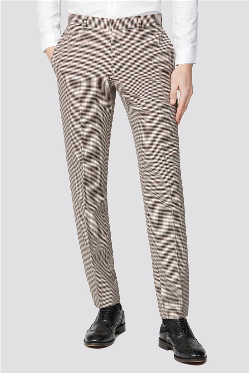 Red & Black Puppytooth Slim Fit Suit Trouser