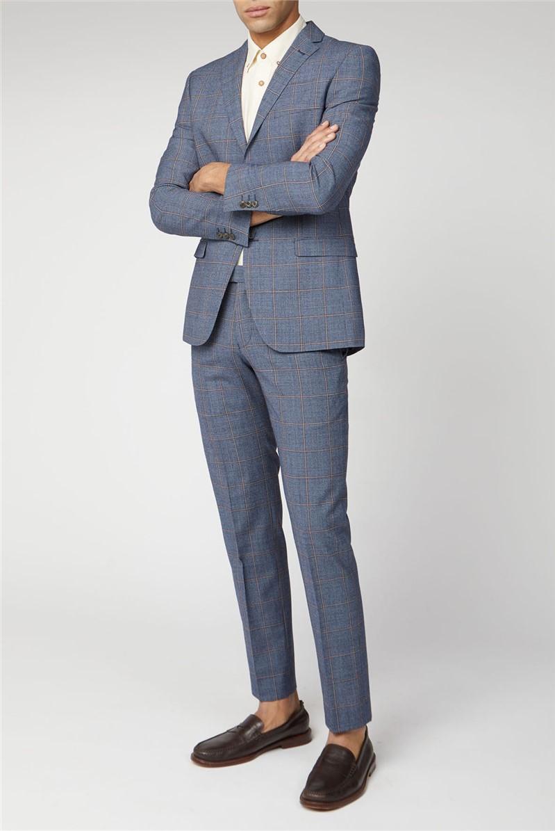 Blue Rust Windowpane Check Tailored Suit
