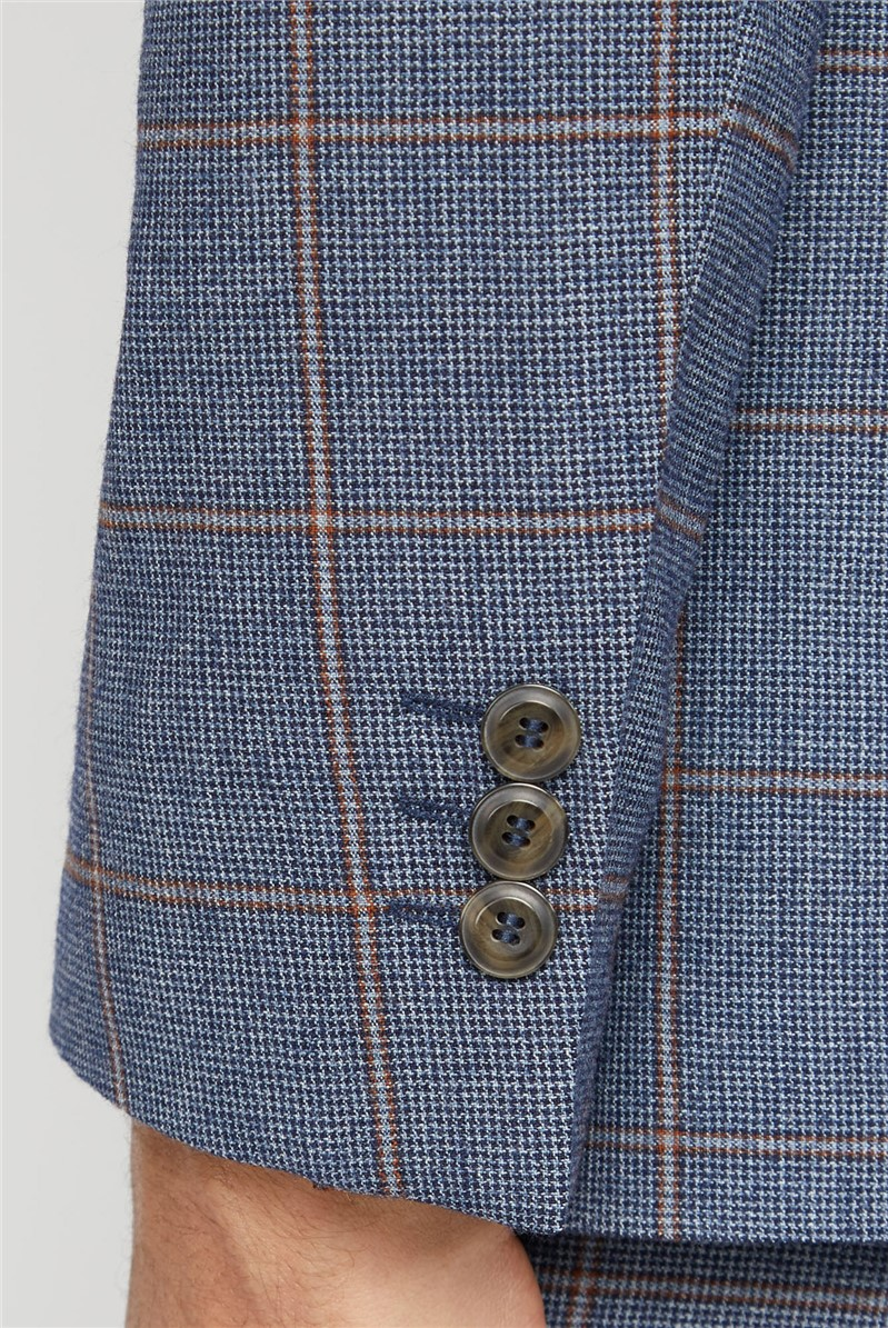 Blue Rust Windowpane Check Tailored Fit Suit