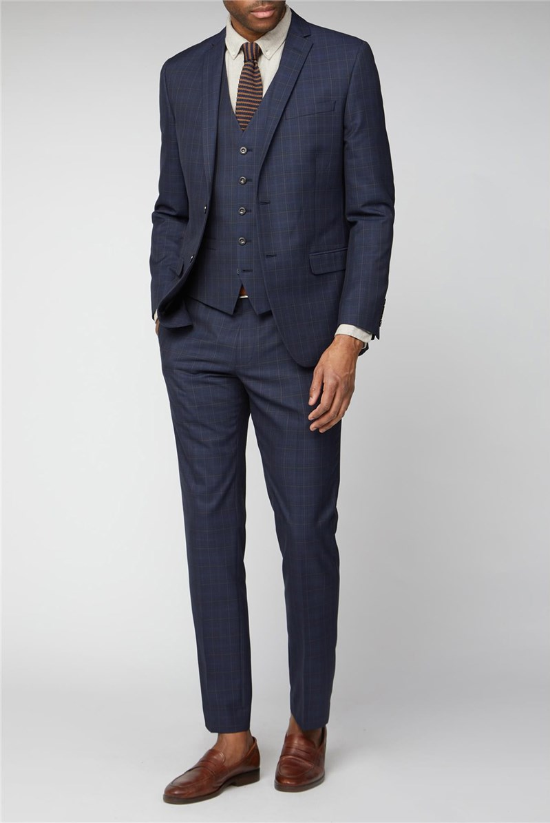 Navy Blue & Caramel Checked Slim Fit Suit
