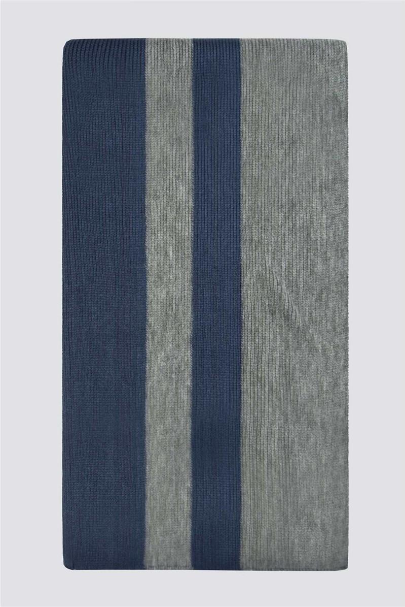 Navy Grey Block Stripe Scarf