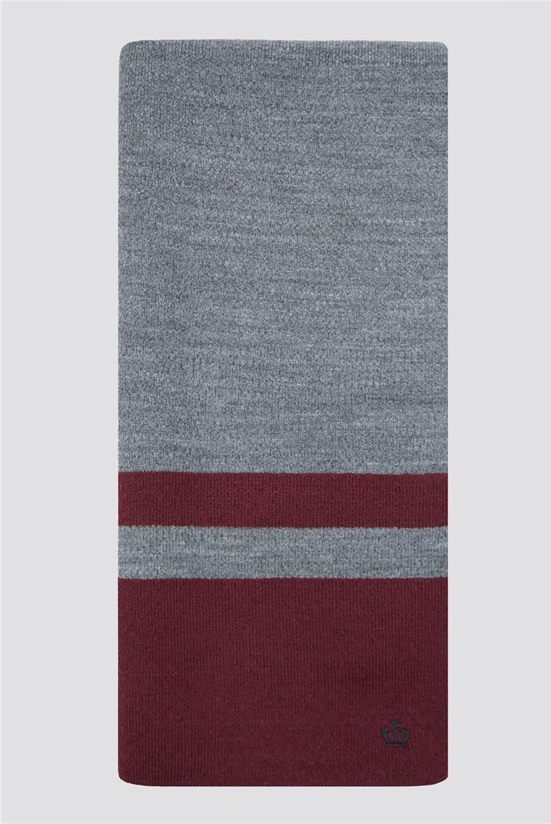 Grey Burgundy Striped Knitted Scarf