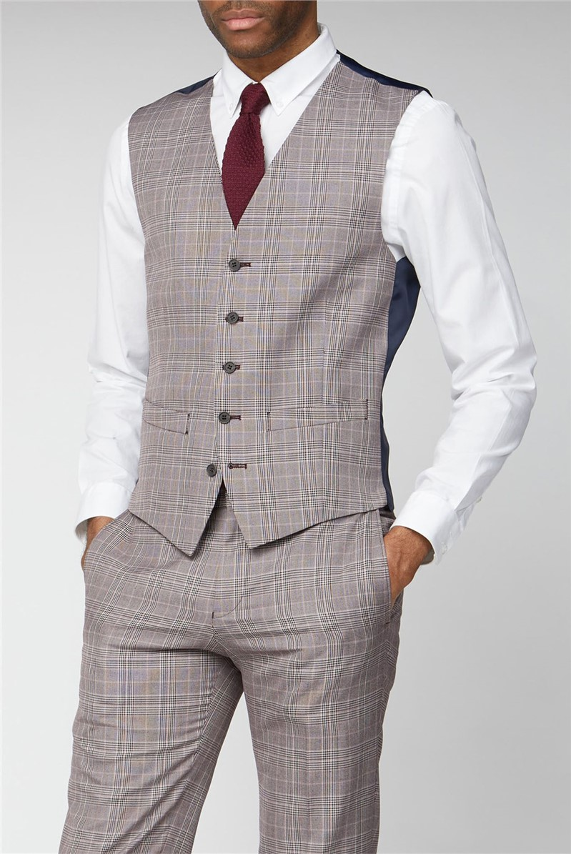 Pink Prince of Wales Check Slim Fit Waistcoat