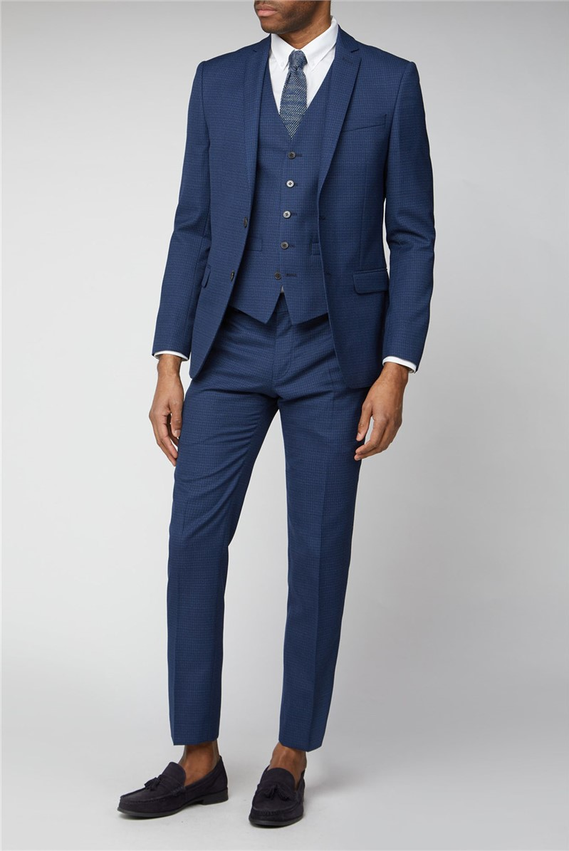 Navy Micro Check Slim Fit Suit