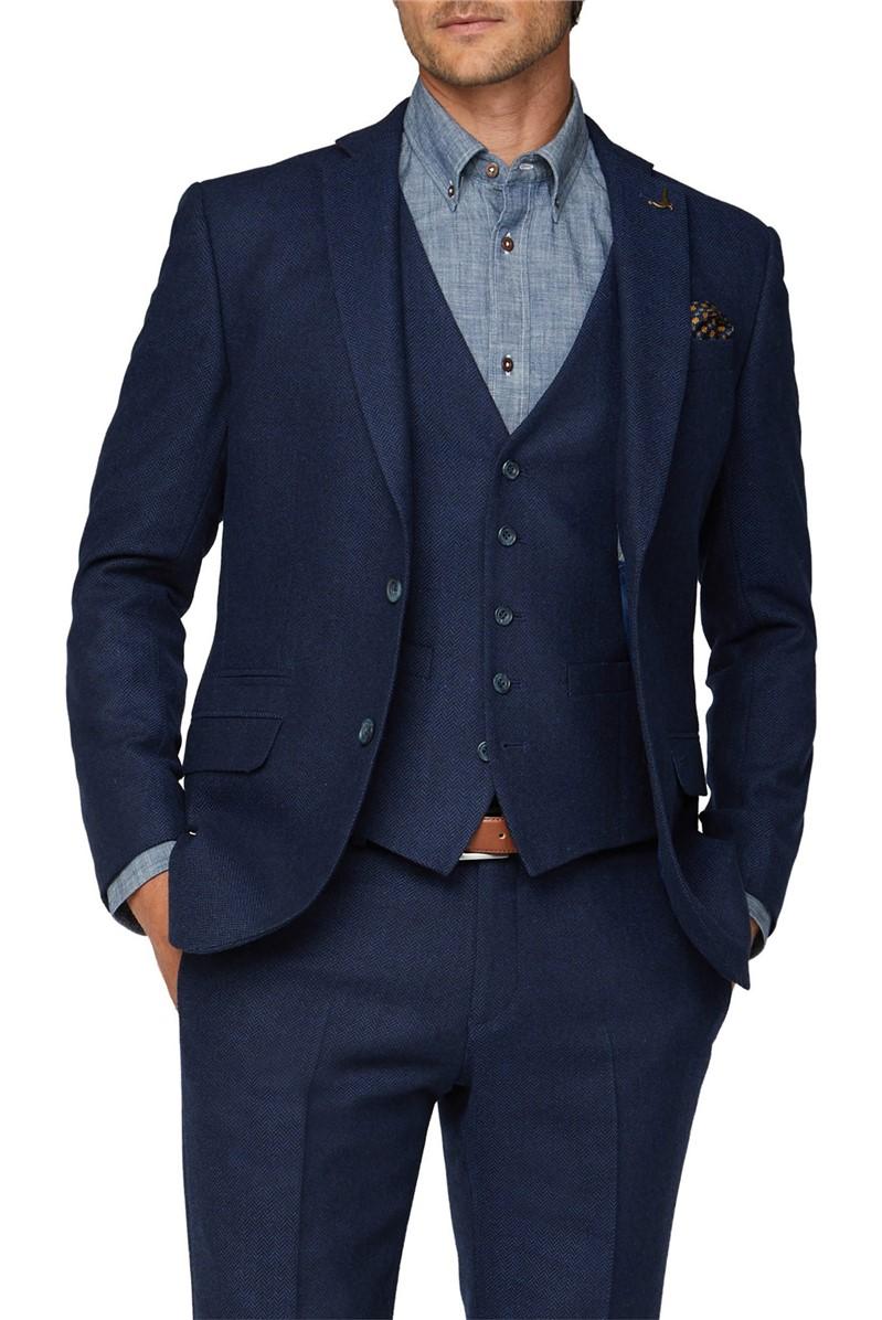 Bright Blue Herringbone Waistcoat