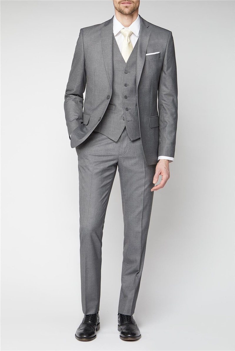 Grey Plain Tailored Fit Suit