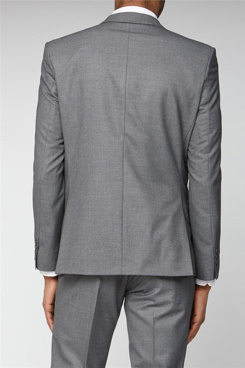 Grey Plain Slim Fit Suit Trouser