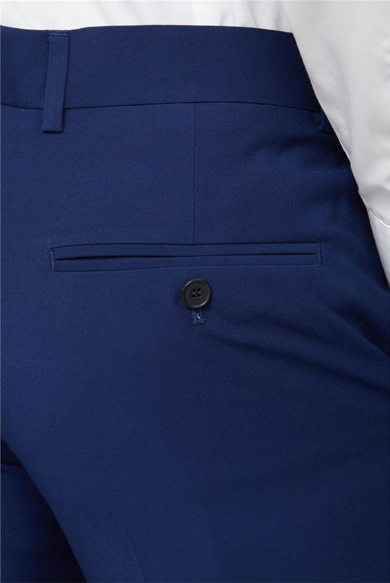 Blue Semi Plain Slim Fit Trouser