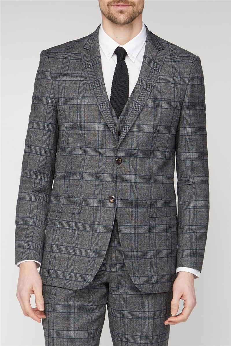 Grey Electric Blue Check Regular Fit Suit