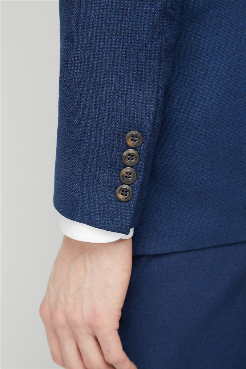 Branded Blue Hopsack Tailored Fit Trousers