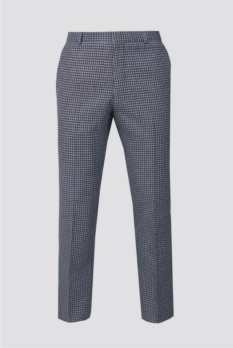 Blue & Grey Texture Gingham Tailored Fit Suit