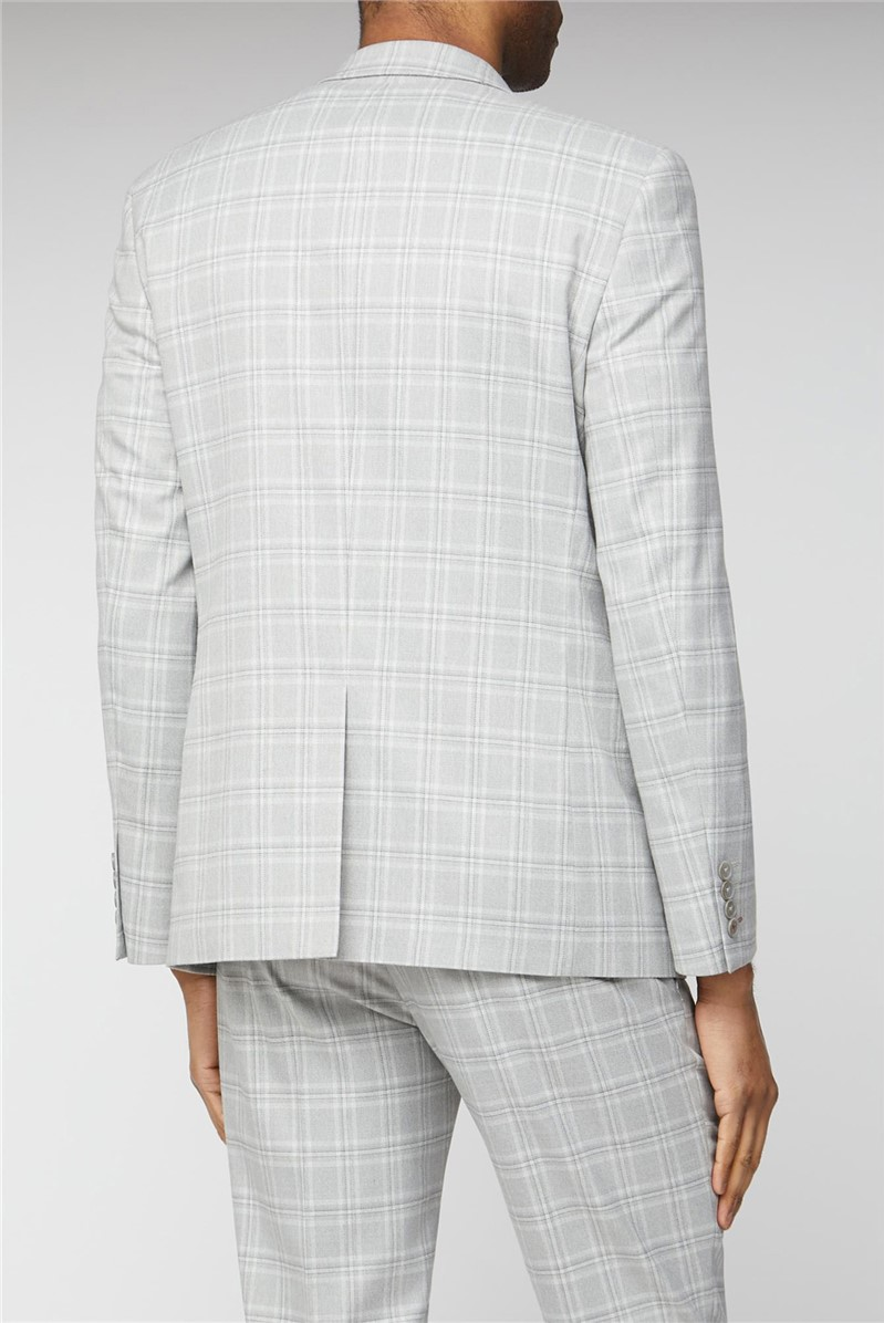 Limehaus Grey Tonal Checked Slim Fit Trousers