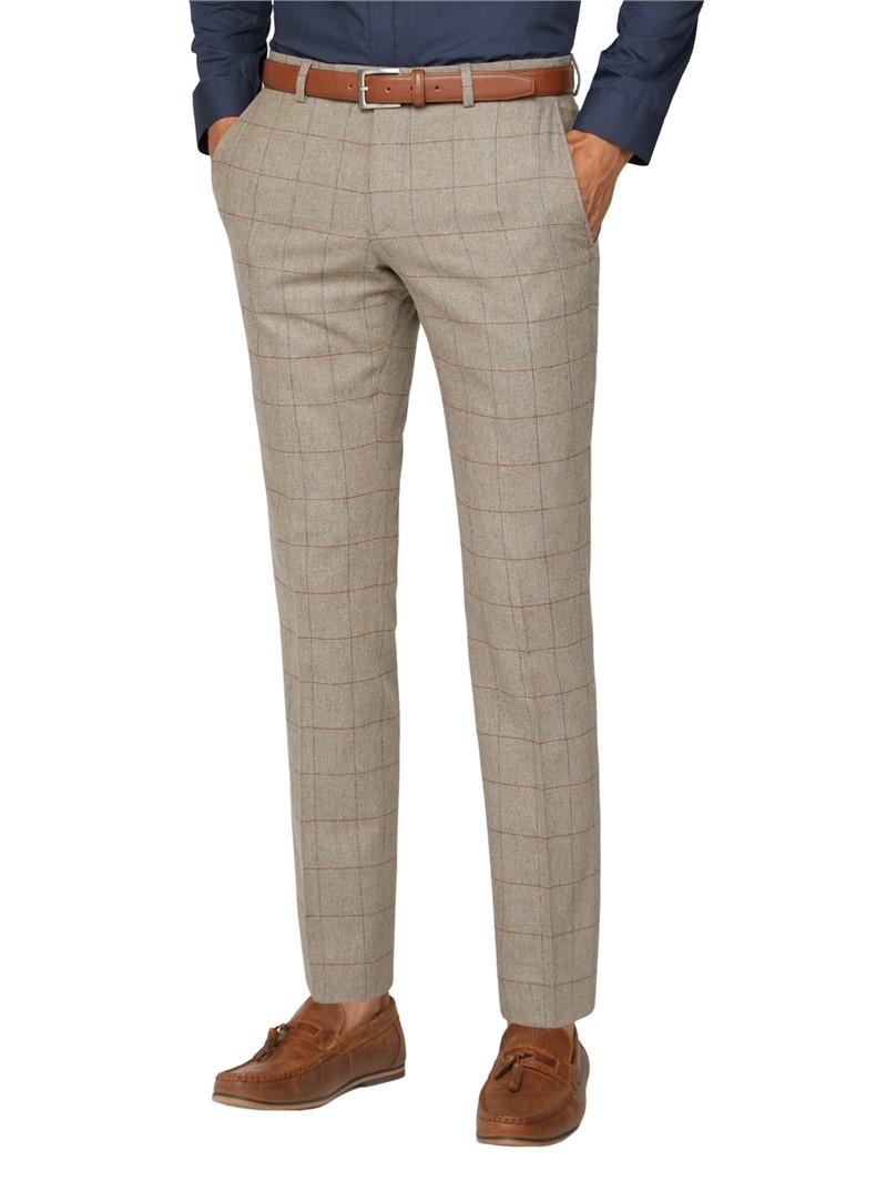 Oatmeal Herringbone Check Tweed Tailored Fit Suit