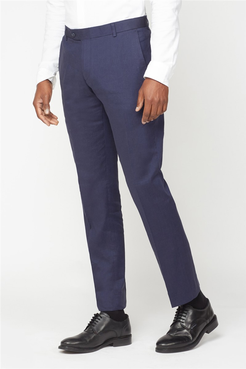 Navy Linen Tailored Fit Trouser