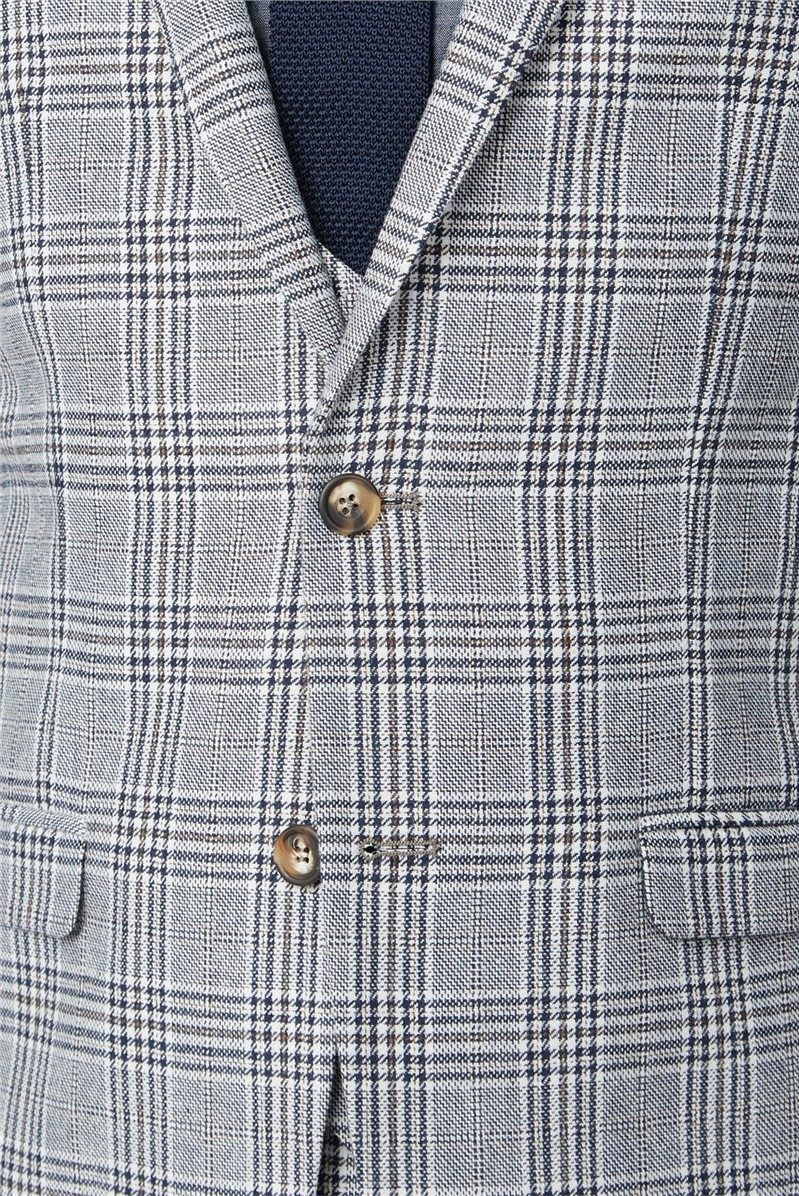 Blue Camel Check Double Breasted Waistcoat