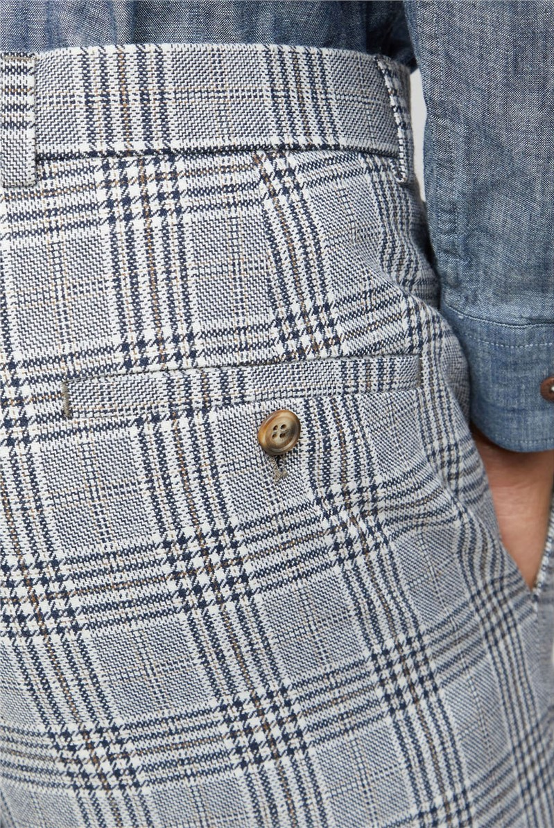 Blue Camel Check Slim Fit Trousers