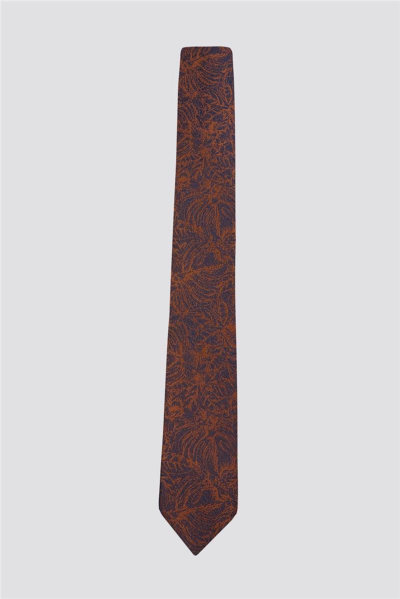 Burnt Orange Sketch Floral Tie
