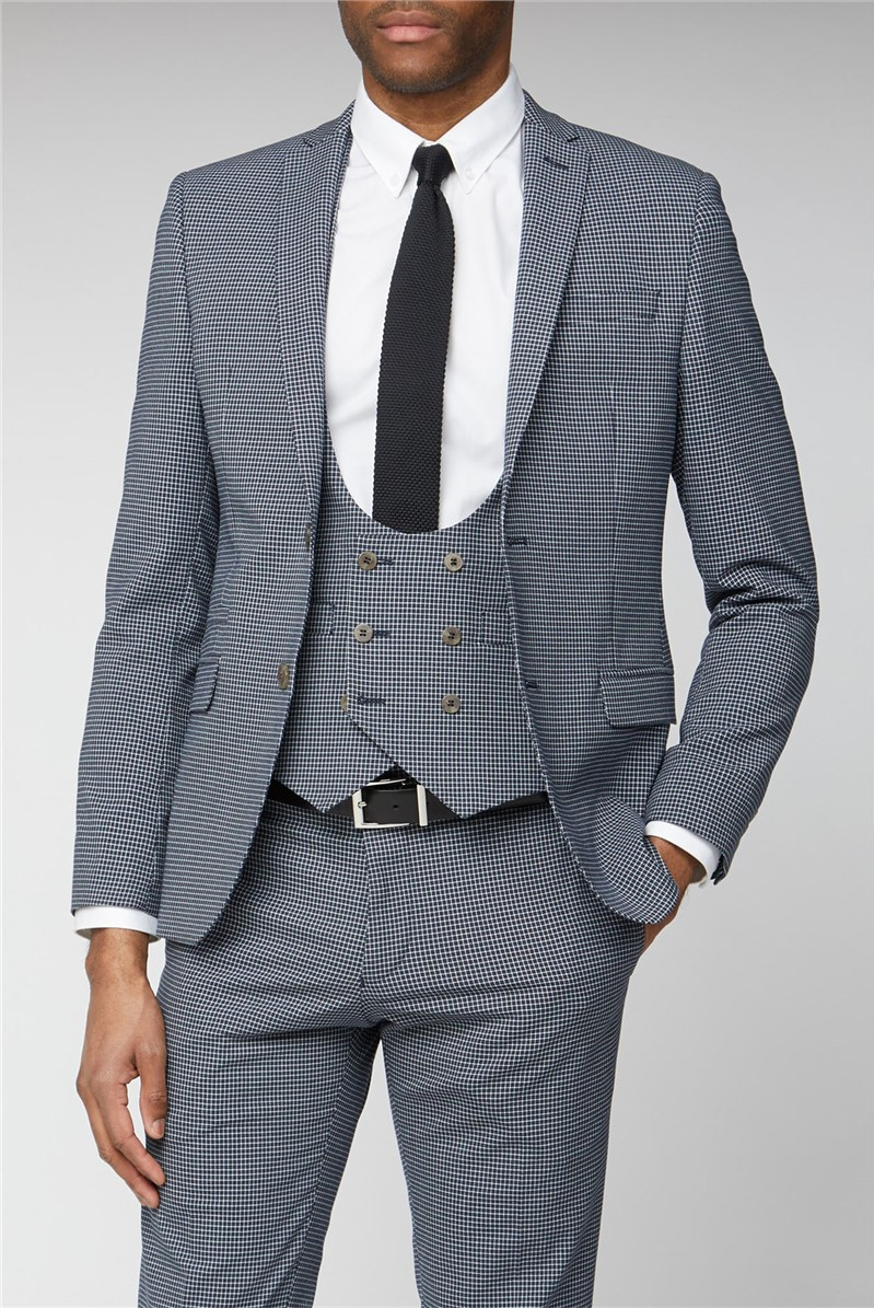 Navy Micro Check Skinny Fit Suit Trousers