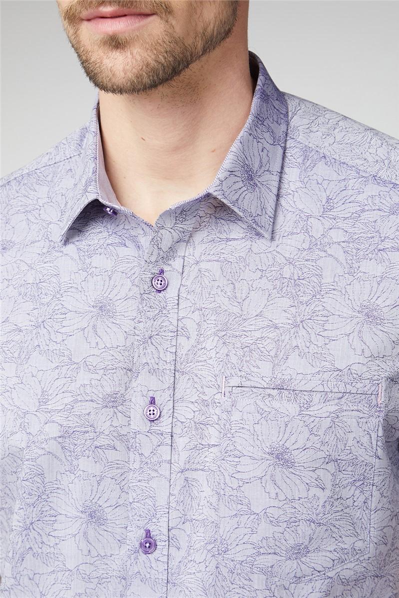 Casual Lilac Floral Jacquard Shirt