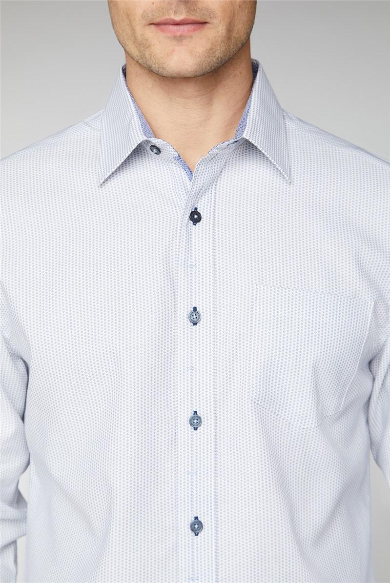 Casual White Micro Dobby Shirt