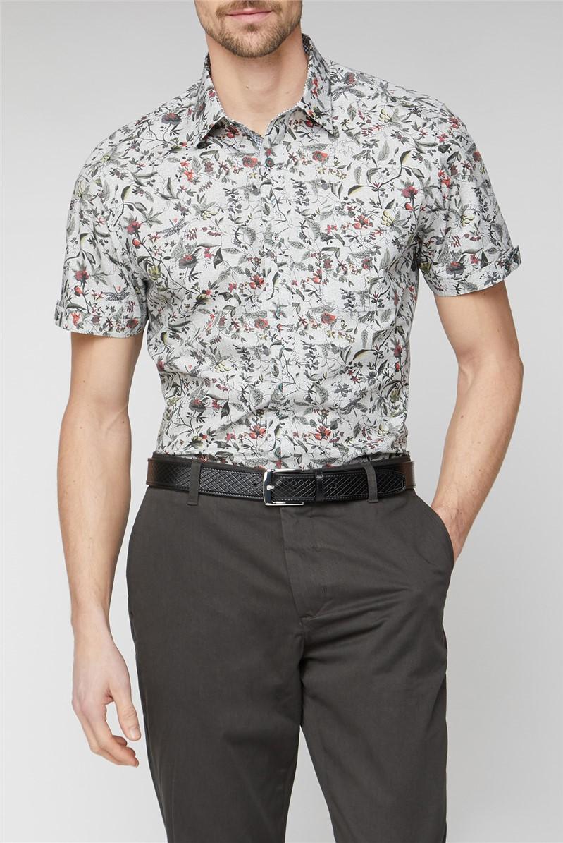 Casual Grey Highlight Digital Leaf Print Shirt