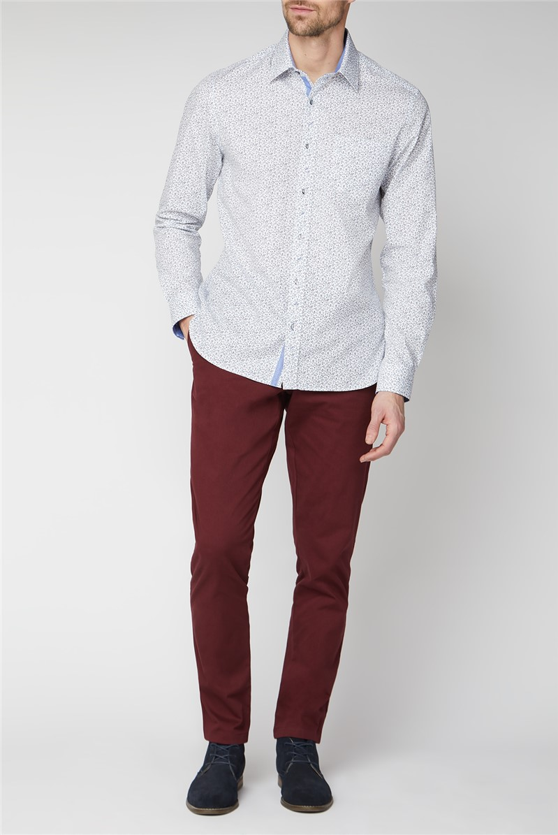 Casual White Berries Print Tailored Fit Shirt