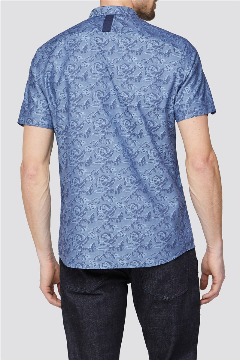Casual Blue Rose Jacquard Shirt