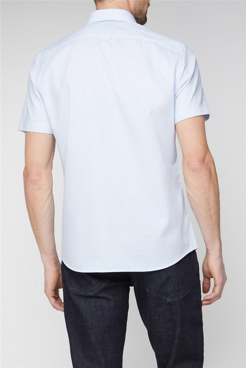 Casual Light Blue Small Check Shirt