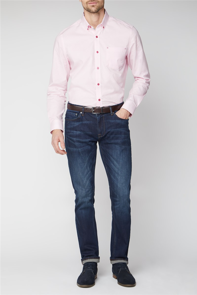 Tailored Fit Casual Pink Weave Check Shirt