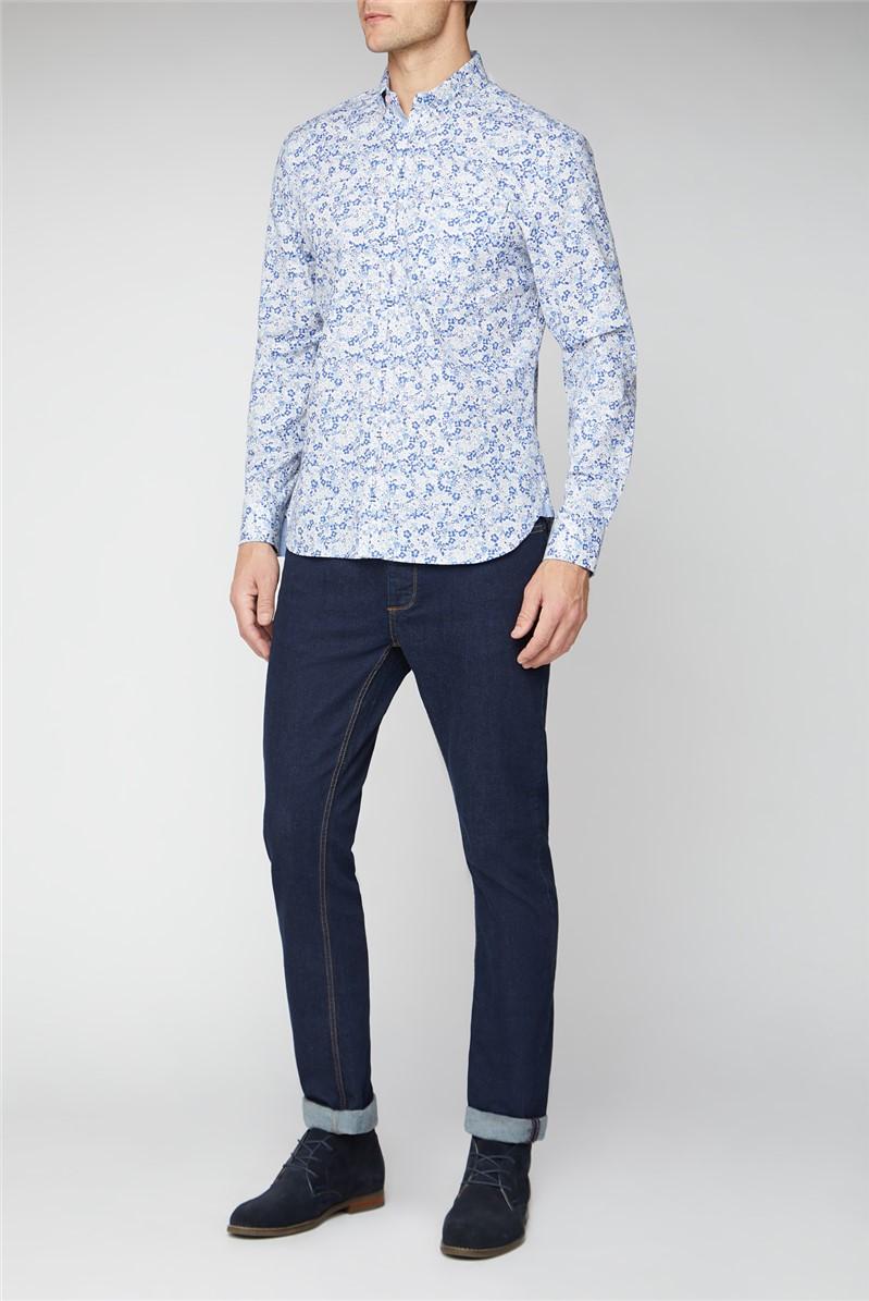 Casual Blue Floral Print Shirt