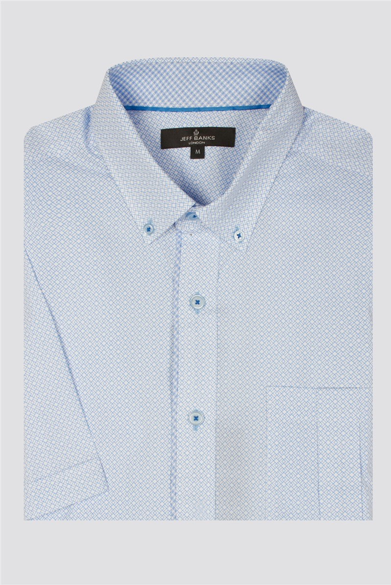 Casual Light Blue Deco Squares Print Tailored Fit Shirt