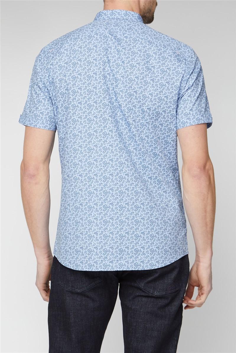 Casual Light Blue Paisley Print Shirt