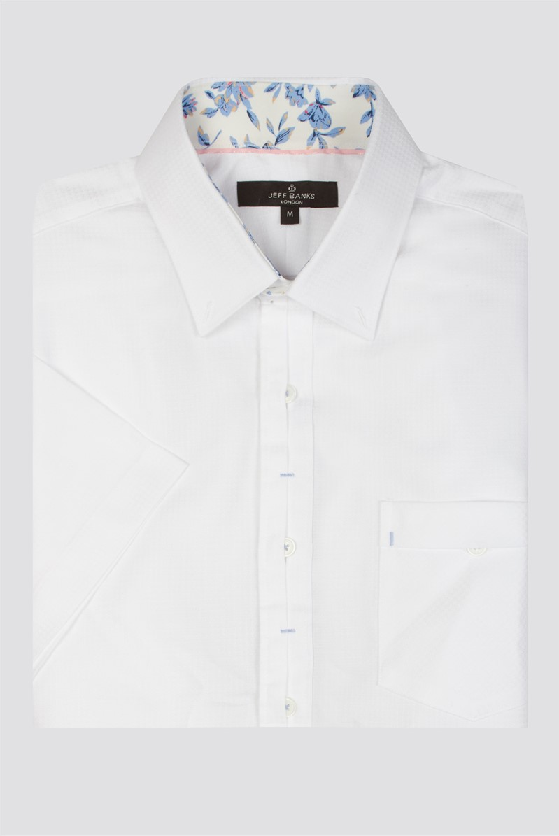 Casual White Dobby Tailored Fit Shirt
