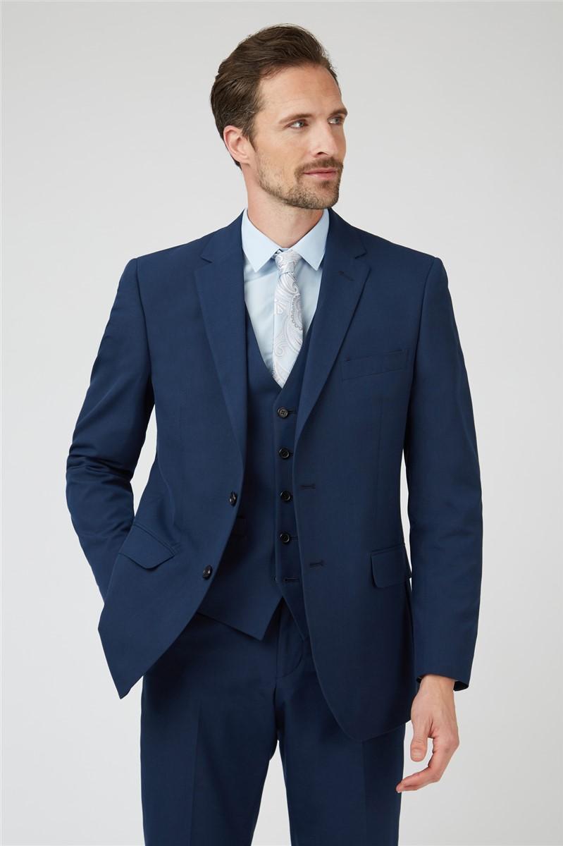 Bright Blue Slim Fit Suit Trouser