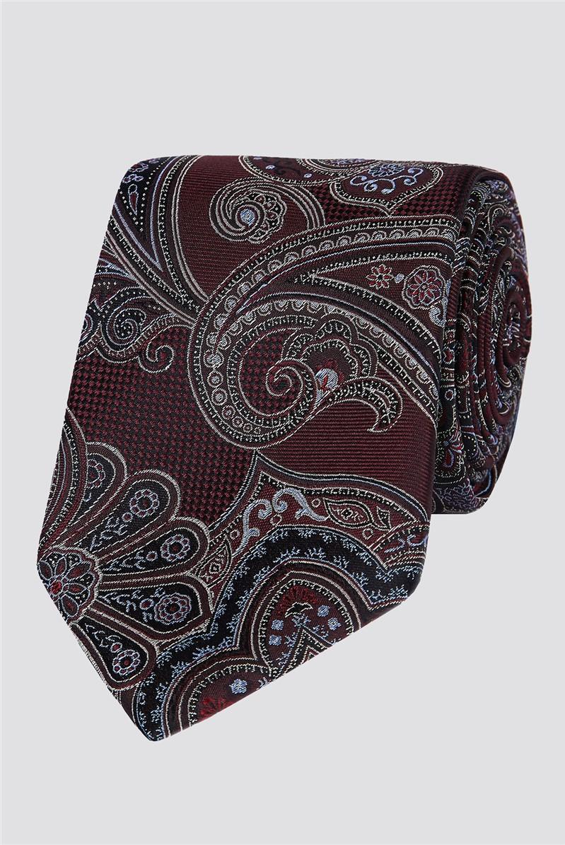 Stvdio Wine Large Intricate Paisley Tie