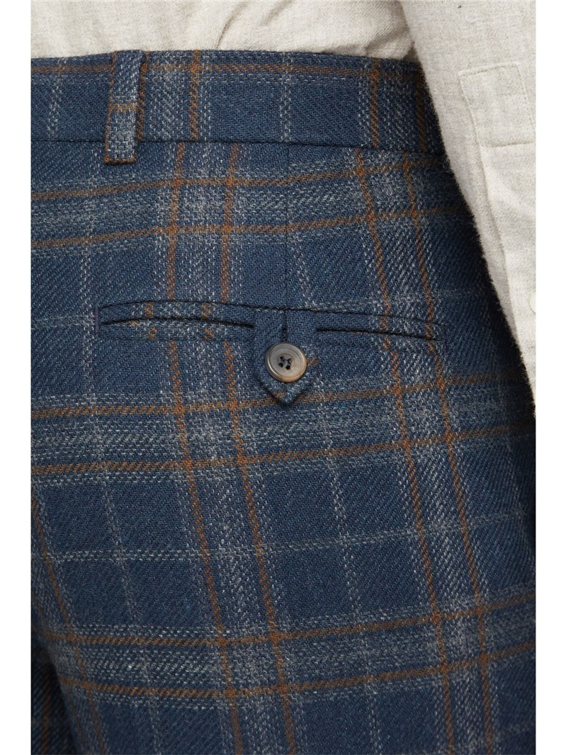 Navy Tan Check Slim Fit Trousers