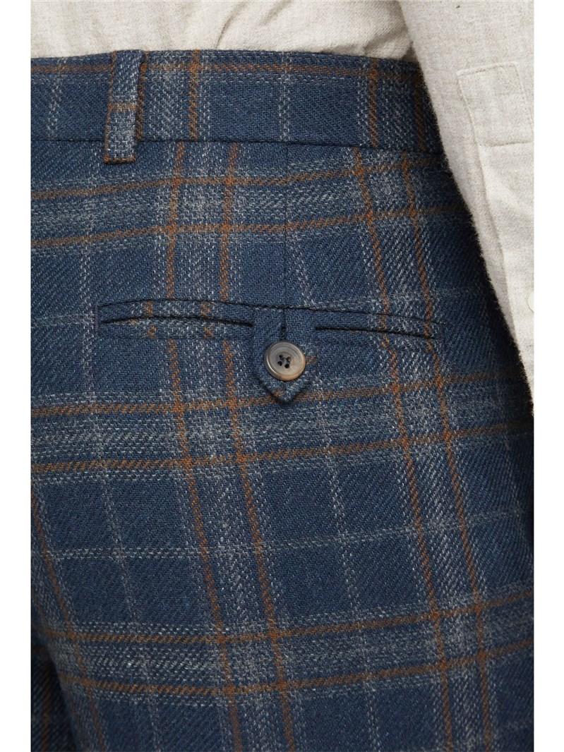 Navy Tan Check Slim Fit Suit