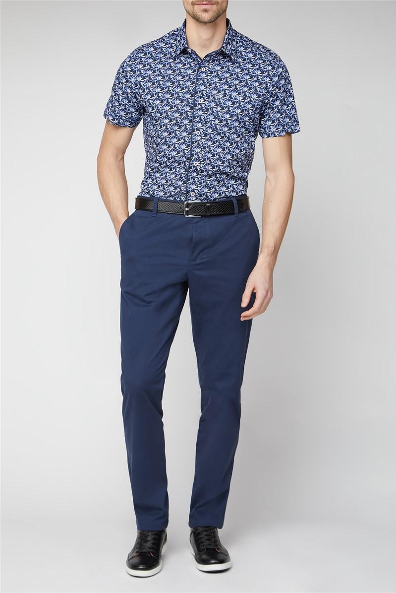 Stvdio Casual Navy Palm Print Shirt