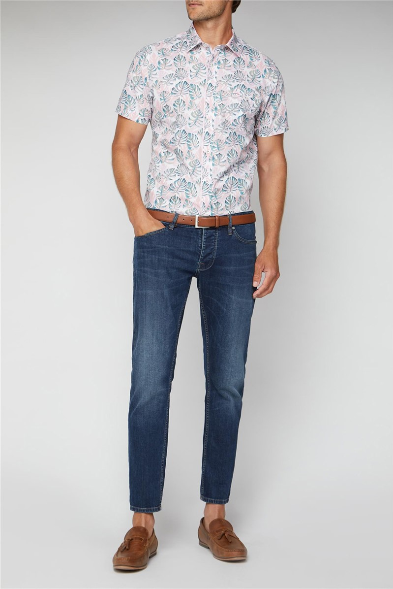 Stvdio Casual Pink Painted Palms Print Shirt