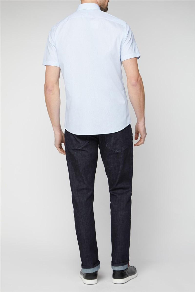 Stvdio Casual Light Blue Square Print Shirt