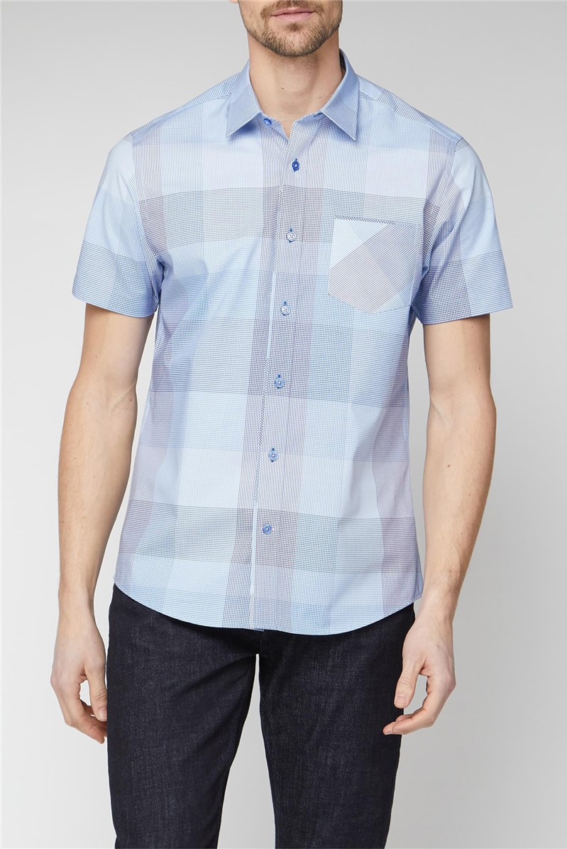 Stvdio Tailored Fit Casual Light Blue Large Check Shirt
