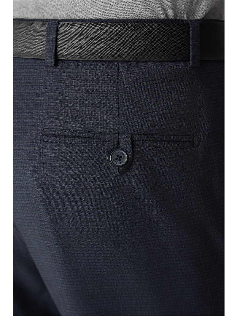 Navy Grid Textured Stand Alone Trouser
