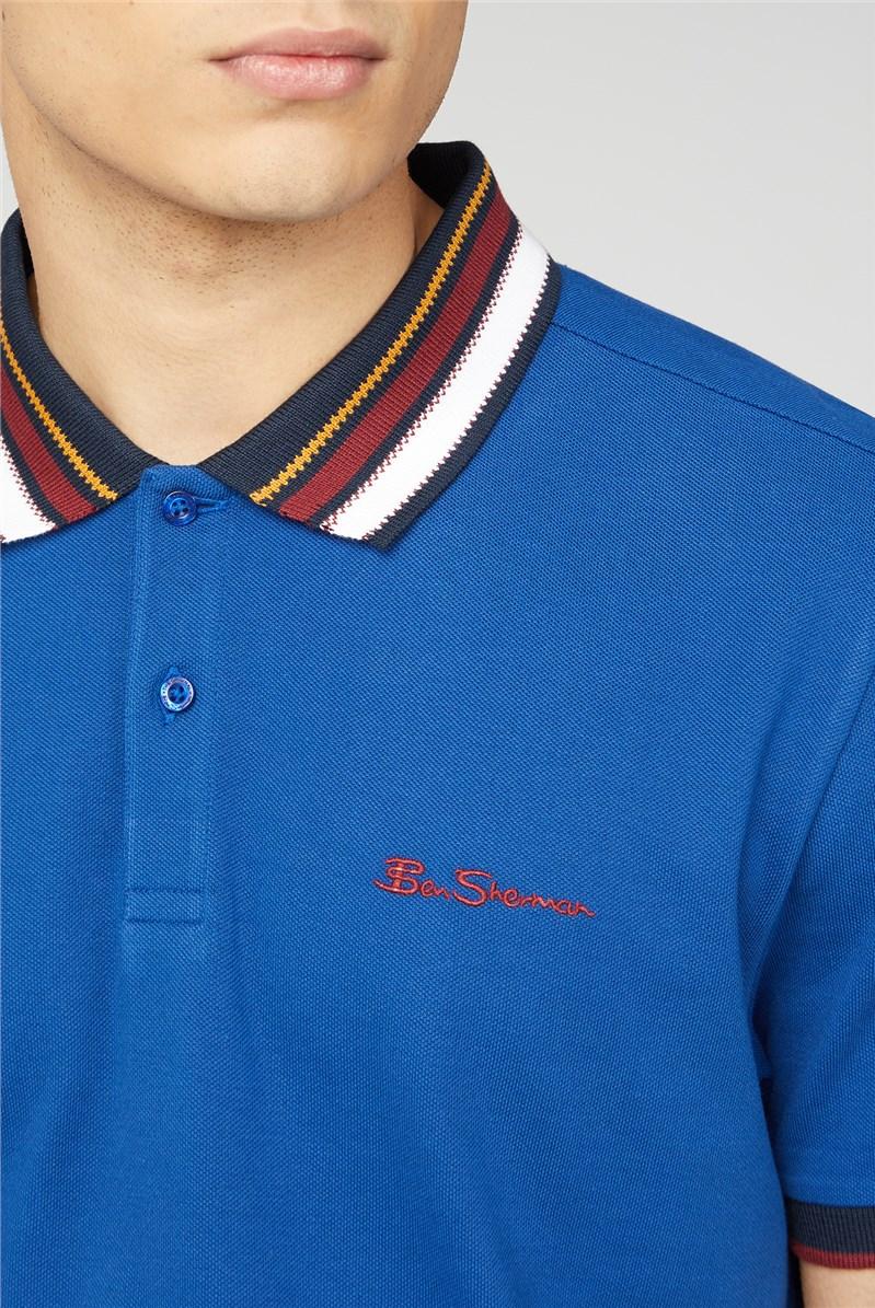 Blue Stripe Collar Pique Polo