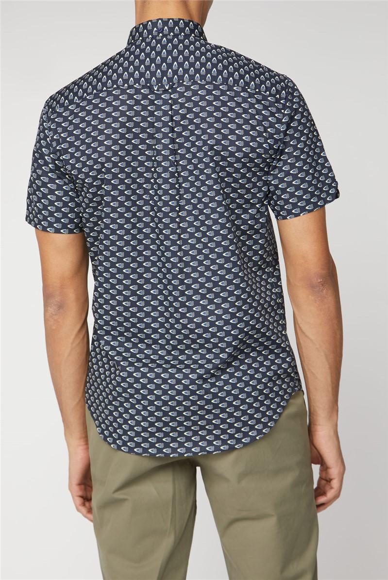 Navy Short Sleeve Flag Shirt