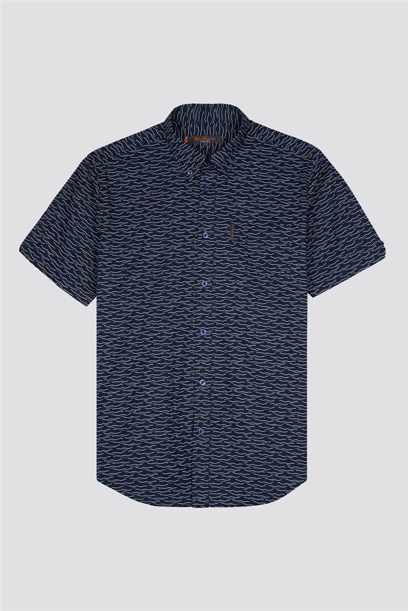 Short Sleeve Wave Print Shirt
