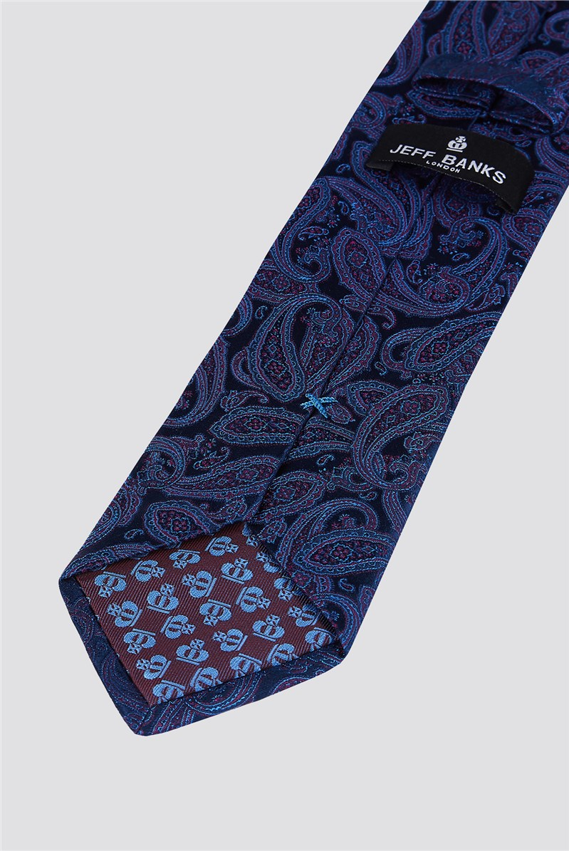 Outlet  London Navy Intricate Paisley Tie