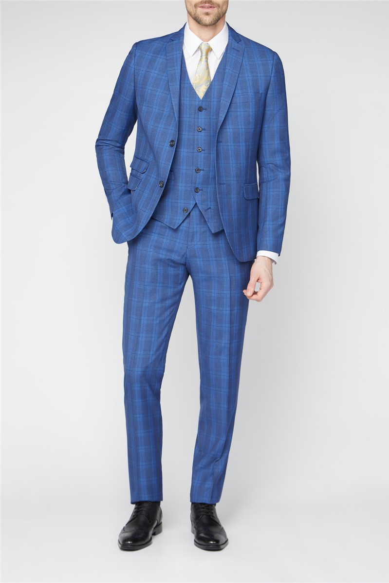 Stvdio Blue Summer Check Brit Super Slim Suit